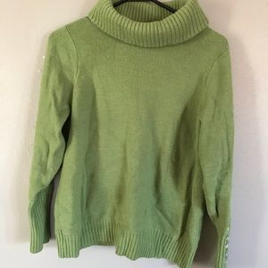 Sarah Spencer 100% merino wool sweater 1x Green